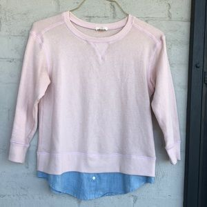 Soft Joie french terry sweatshirt w chambray trim